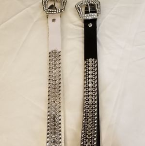 Luxury Diva's Bling Belts one Black and one White